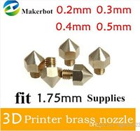 Cheap 5pcs lot 3D Printer Nozzle Optional Sizes 0.2mm 0.3mm 0.4mm 0.5mm Extruder Print Head For 1.75MM Makerbot free shipping