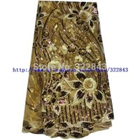 Wholesale yards New Arrival African French Lace African Embroidery Organza Lace African Lace With Sequin Gold color