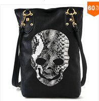Cheap New Style Fashion Punk Black Skull Face Designer Pu leather Handbag Women's Shoulder Bag,Lady Cross Body Bag Free Shipping