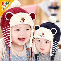 bears fitted hats - Baby Kids Cotton Hat For Winter Velvet Girls Cute Caps Thicked Boys Cartoon Bear Caps Fit Age SS511