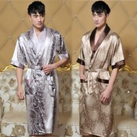 Cheap Wholesale-Mens Silk Kimono Kimono Hombre Mens Silk Bathrobe Men Sexy Robe Bathrobe Dressing Gown Lounge Robe Men Size XL XXXL Hot saleL181