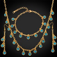 Bracelet,Earrings & Necklace costume jewellery set - Natural Turquoise Turkey Stone K Gold Plated Costume Jewelry Sets Fancy Necklace Fashion Jewellery Gift For Women MGC S746