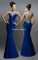 Wholesale Royal Blue Mermaid Evening Dress Beads Applique Crew Beaded Pivot Backless Wedding Party Guest Evening Gown