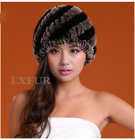 Wholesale New Lady Knitted Rabbit Fur Hats With Stiped Color Caps Girls Winter Warm Headwear Most Valuable Hat LX00235