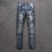 Wholesale Balmain Paris mens Destoryed biker denim ripped jeans Famous Brand New size