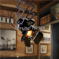 Wholesale LOFT Industrial Covered Flexible LED Track Light Lamp W Warm Cool White LED Down light W Edison ST64 Incadescent Bulb