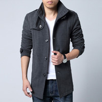 Cheap Mens Single Breasted Pea Coat | Free Shipping Mens Single