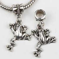 Metals big frogs - New MIC Tibetan Silver Frog DANGLE Charms Big Hole Beads Fit European Bracelets Jewelry DIY Loose Beads