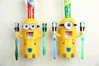 Wholesale Cartoon Toothpaste Sale - sale Christmas gift Cheap Toothbrush Holder Toothpaste Dispenser Cute Despicable Me Minions Design Set Cartoon Toothbrush Holder Automatic