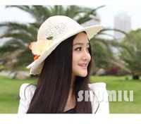 Cheap New Fashion Straw Hats For Women Womens Crocheted Flowers Leaves Foldable Floppy Sweet Summer Beach Cap Chapeau Khaki Beige