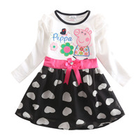 Wholesale Baby Girl Dress New Cartoon Dress Long Sleeve Cute Princess Party Dress Embroidered Kids Spring Dress White Fuchsia Skirt H4643