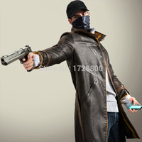 baton costumes - Fall High Quality Watch Dogs Aiden Pearce Cosplay Coat Jacket Trench Hat Mask Baton Costumes