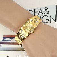 Wholesale luxury women bracelet watch fashion ladies diamond stone dress quartz gold colored wristwatch alloy metal watches for women