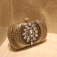 barrel pillow - Luxury Vintage Crystal Bridal Hand Bags Evening Clutch Bag Wedding Handbag Designer Gold Formal Party Beaded Purse Red Carpet Handbags