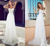 Wholesale Summer Julie Vino Wedding Dresses Romantic Sweetheart Spaghetti Straps With Ribbons White Lace Garden Corset Beach Bridal Wedding Dress