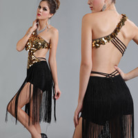 Wholesale Samba Dancing Clothes - Latin Dance Dress Women Salsa Performance Dresses Backless Sequins Tassel Club Dresses Clothing For Ballroom Rumba Samba Dancing DQ3080