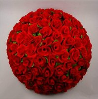 ball mounting - 12 quot cm Artificial Rose Silk Flower Red Kissing Balls For Christmas Ornaments Wedding Party Decorations Supplies