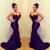 Wholesale In Stock Royal Blue Sequined Evening Party Dresses For Women Wedding Guests Hot Sale Cheap Mermaid Bodycon Amazing Vestidos De Fiesta