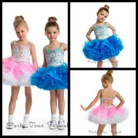short pageant dresses for girls - 2015 Lovely Ritzee Girls Pageant Dresses Organza Flower Girls Dresses Beaded Ball Gown Spaghetti Straps Short Pageant Dresses For Girls
