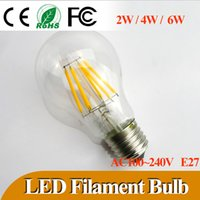 Wholesale 50pcs NEWEST Led filament bulb E27 W W W LED bulbs Warm cold white CE ROHS degree edison bulbs for indoor lighting AC200 V