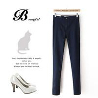 Women wholesale blue jeans - 21pcs Hot Sale European and American style High Waist Elastic Jeans Thin Skinny Pencil Pants Sexy Slim Hip Denim Pants For Women