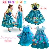 Cheap Hot Sale frozen fever children summer anna elsa dress 2015 elsa anna movie cosplay costumes baby girl flower princess dress free shipping