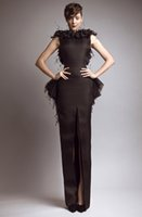 Cheap Wholesale - Free Shipping 2014 New Glamorous Brown Bateau Keyhole Back Slit Peplum Feather Evening Dresses