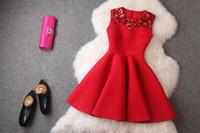 Wholesale Vestidos S M L XL XL plus size red dress slim sequined short party dresses sleeveless autumn women summer dress sexy dress
