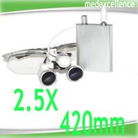 Cheap Hotsale! Dentist Head Light Dental Loupes Surgical Medical Binocular Loupes 2.5X 420mm Optical Glass Loupe Silver Color