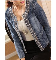 Women denim jacket - New Top Quality Spring Autumn Retro Diamond Sequined Jeans Jackets Women Coat Long sleeve Denim Jacket Plus Size Jacket XL