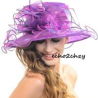 ladies dress hats - Ladies Kentucky Derby Church Hat Wedding Dress Wide Brim Hats Leaf Shape of Flower Hats Crystal Yarn Summer Hats inch S036