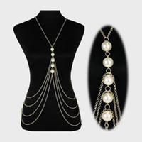beaded epaulet - Elegant Tassels Shoulder Neckchains Multi Layer Pearls Full Body Necklets Epaulet Chains Women s Stage Show Necklaces jj107