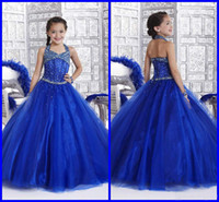 Wholesale 2014 Halter Organza Beaded Bodice Little Girl s Pageant Dresses A Line Junior Floor Length Princess Formal Glitz Flower Girl s Gowns