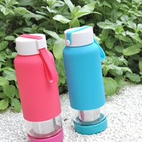 glass water bottle - Just Life Simida Glass Water Bottle with Silicone Sleeve Fruit Tea Infuser ml