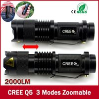 Wholesale high quality Mini Black CREE LM Waterproof LED Flashlight Modes Zoomable LED Torch penlight