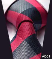 Wholesale Red Blue Check New Gravata quot Silk Corbatas Jacquard Woven Classic Man s Tie Necktie