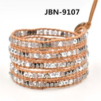austrian news - news sale genuine leather woven austrian crystal bracelet wrap leather bracelet bangle for women and men JBN