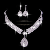 Wholesale Fashion Bridal Wedding Accessories Necklace and Earrings Veu De Noiva Elegant Cheap Silver In Stock