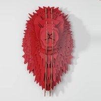 animal head sculpture - Red DIY wooden Lion head for wall decor wood carving wooden sculptures decor head animal decorative objects lion decorations mdf