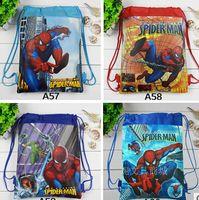 Wholesale NEW Children Drawstring Bags Cartoon The Superhero Backpack Kids School Bag Handbag cheap V1DB6A