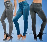 leggings with pockets - 2016 Sales Spring Leggings Jeans Women Denim Pants With Pocket Slim Jeggings Fitness Plus Size Leggings S M L XL Black Gray Blue