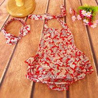 Wholesale Ruffled Baby Girl Sunsuit Romper Paisley Baby Girls Clothing Set Cut Kids Jumpsuit Cotton Chevron Rompers