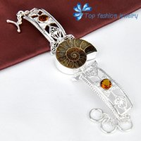 ammonite bracelet - new Amercian style sterling silver Nature Ammonite Fossil bracelets for women nature stone jewelry