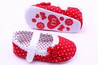 antiskid tape - Baby Girls Prewalkers Sneakers Lovely Soft Warm Antiskid Toddler Flower Polka Magic Tape Crib Shoe Red Pink