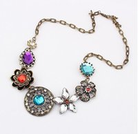 Cheap new vintage statement crystal flowers necklaces Vintage harry potter flower Vintage necklaces Flower diamond necklace free shipping in stock