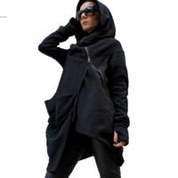 achat en gros de vestes zippées femmes-Hoodies Hiver Femme élégante manches Casual Long Cool Coat Asymmetric capuche zippé Sweatshirt Manteau 31
