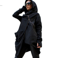 Wholesale Winter Hoodies Stylish Women Casual Long Sleeve Cool Asymmetric Hooded Coat Zipped Sweatshirt Jacket Coat