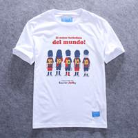 barcelona football shirts - Spanish football cartoon Barcelona cotton Slim short sleeve T shirt Lionel Messi Manchester David Beckham RobertoBaggio Juvent