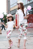 brand fashion tracksuits - Summer style mother daughter matching clothes pretty family clothing sets floral tracksuits mommy and me clothes sport suit HX