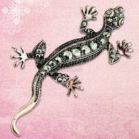 awesome pins - ES0532 awesome vintage copper tone crystal lizard gecko pin brooch